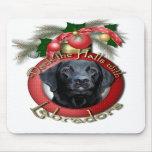 Navidad - cubierta los pasillos - Labradors - negr Alfombrilla De Ratones
