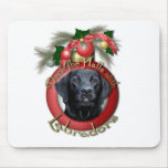 Navidad - cubierta los pasillos - Labradors - negr Alfombrilla De Ratón