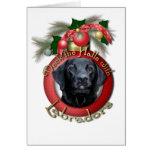 Navidad - cubierta los pasillos - Labradors - negr Felicitaciones