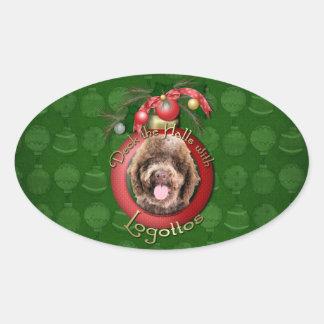 Navidad - cubierta los pasillos - Logotto Colcomanias Oval Personalizadas