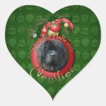 Navidad - cubierta los pasillos - Newfie Pegatina Corazón