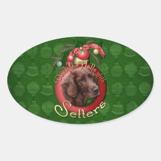 Navidad - cubierta los pasillos - organismos calcomania de ovaladas