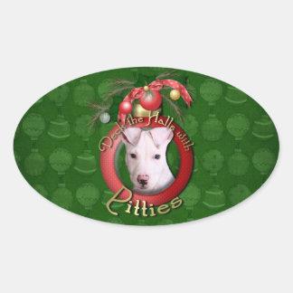 Navidad - cubierta los pasillos - Pitties - Petey Calcomania De Oval Personalizadas