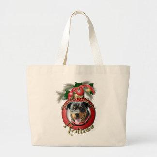 Navidad - cubierta los pasillos - Rotties - SambaP Bolsa Lienzo