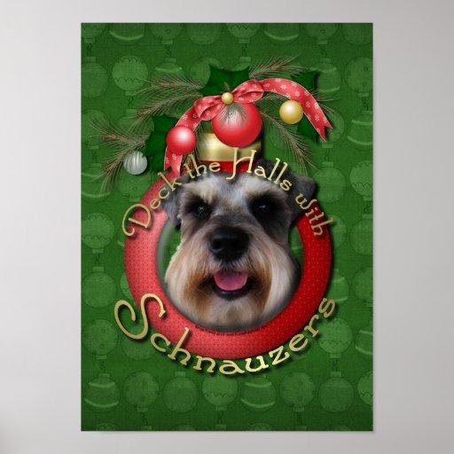 Navidad - cubierta los pasillos - Schnauzers Posters