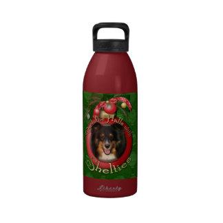 Navidad - cubierta los pasillos - Sheltie - Chani Botellas De Agua Reutilizables