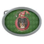 Navidad - cubierta los pasillos - Sheltie - Chani Hebillas Cinturón Ovales