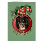 Navidad - cubierta los pasillos - Sheltie - Chani Felicitacion