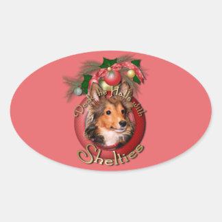 Navidad - cubierta los pasillos - Shelties - Pegatina De Óval