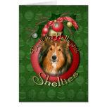 Navidad - cubierta los pasillos - Shelties Tarjetón
