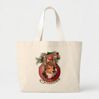 Navidad - cubierta los pasillos - Shelties - tonel Bolsas Lienzo