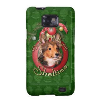 Navidad - cubierta los pasillos - Shelties - tonel Samsung Galaxy S2 Carcasa
