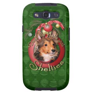 Navidad - cubierta los pasillos - Shelties - tonel Galaxy S3 Fundas