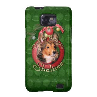 Navidad - cubierta los pasillos - Shelties - tonel Samsung Galaxy SII Carcasas