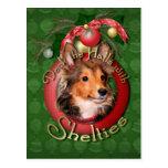 Navidad - cubierta los pasillos - Shelties - tonel Postal