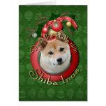 Navidad - cubierta los pasillos - Shiba Inu Tarjetón