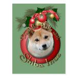 Navidad - cubierta los pasillos - Shiba Inu Postales