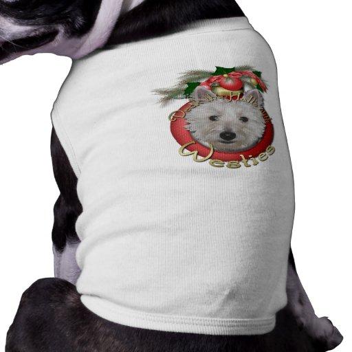 Navidad - cubierta los pasillos - Westies - el tan Camisa De Mascota