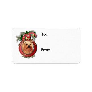 Navidad - cubierta los pasillos - Yorkies Etiquetas De Dirección