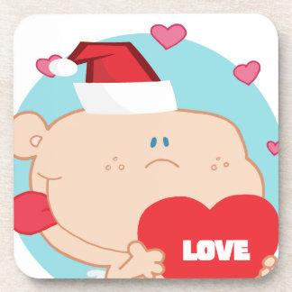 Navidad Cupid romántico con el corazón Posavasos De Bebidas