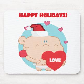 Navidad Cupid romántico con el corazón Tapetes De Ratón