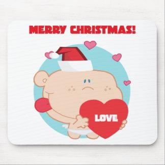Navidad Cupid romántico con el corazón Tapetes De Raton