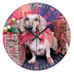 Navidad - Dachshund - Chloe Relojes De Pared