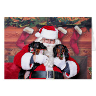 Navidad - Dachshund - Mickey y Madilyn Tarjeta De Felicitación
