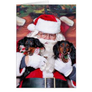 Navidad - Dachshund - Mickey y Madilyn Tarjeta Pequeña