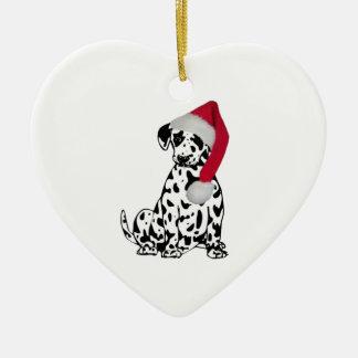Navidad dálmata adorno de cerámica en forma de corazón