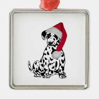 Navidad dálmata adorno cuadrado plateado