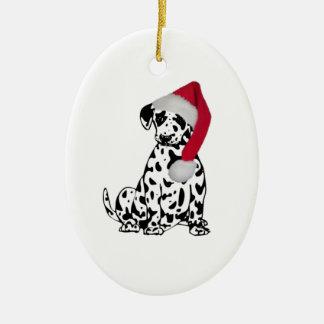Navidad dálmata adorno ovalado de cerámica