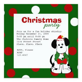 Navidad dálmata invitación 13,3 cm x 13,3cm