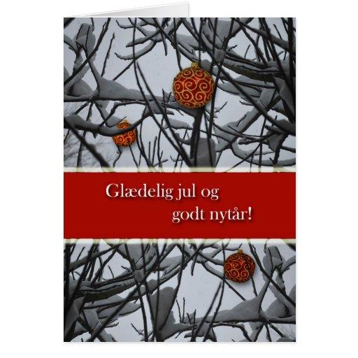 Navidad danés, ornamentos en nieve tarjeta de felicitación