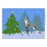 Navidad de adornamiento Tre de Whippet del galgo Tarjeta De Felicitación