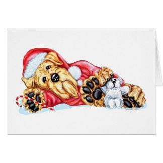 Navidad de Airedale Terrier que espera Santa Tarjeta Pequeña