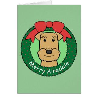 Navidad de Airedale Terrier Felicitacion