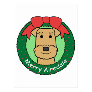 Navidad de Airedale Terrier Postal