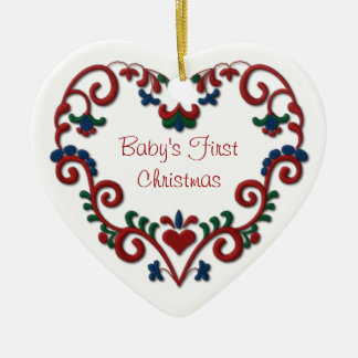 Navidad de Babys del corazón escandinavo primer Adorno Navideño De Cerámica En Forma De Corazón