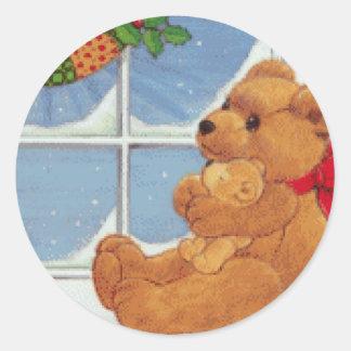 Navidad de Beary Pegatina Redonda