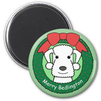 Navidad de Bedlington Terrier Imán De Frigorífico