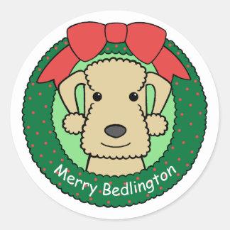 Navidad de Bedlington Terrier Etiqueta Redonda