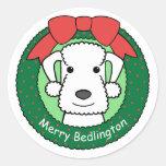 Navidad de Bedlington Terrier Pegatina Redonda
