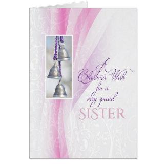 Navidad de Belces de plata para la hermana Tarjeta De Felicitación