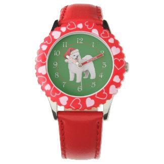 Navidad de Bichon Frise Relojes De Pulsera