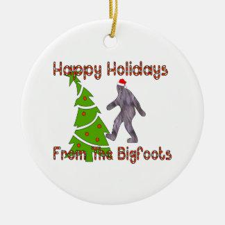 Navidad de Bigfoot Adorno Navideño Redondo De Cerámica