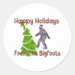 Navidad de Bigfoot Pegatina Redonda
