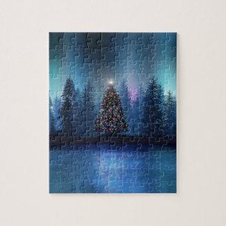 Navidad de Borealis de la aurora Puzzle Con Fotos