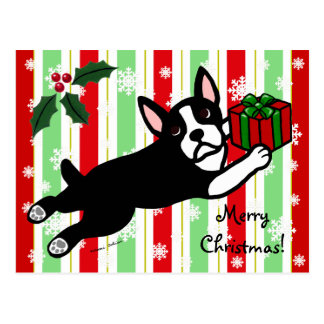 Navidad de Boston Terrier 2 copos de nieve del dib