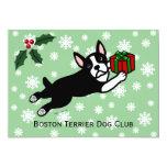 """Navidad de Boston Terrier 2 copos de nieve del Invitación 5"""" X 7"""""""